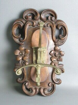 Antique Frame Panel Baroque in Wood with Hook Hanger Xx Sec.