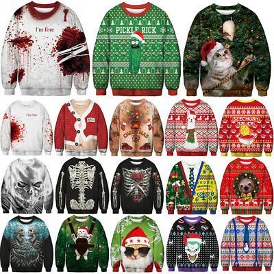 Unisex Ugly Christmas Sweater Santa Xmas Pullover Jumpers Casual Sweatshirt Tops