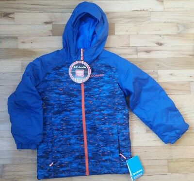 COLUMBIA Boys 10-12 Blue Plaid Windward Shirt Jacket w// Sherpa Lining NWT $60