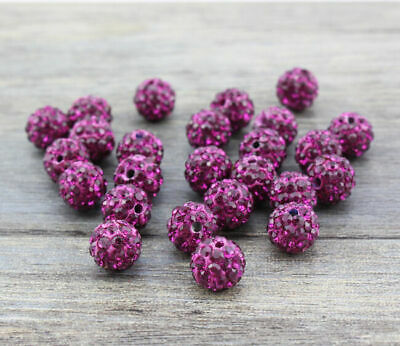 Wholesale 100 Pcs Cz Crystal Shamballa Beads Pave Disco Balls fuchsia Color 10MM