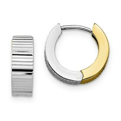 Real 10K Two Tone Gold 2/'/' 50mm Large Size Screw Design Hoop Earring 5.2gram