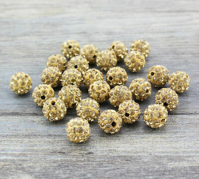 Wholesale 100 Pcs Cz Crystal Shamballa Beads Pave Disco Balls Khaki Topaz 10MM