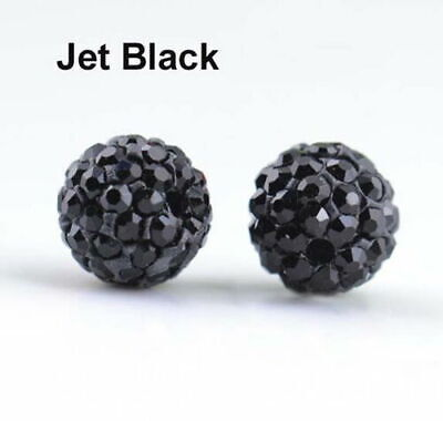 Wholesale 100 Pcs Cz Crystal Shamballa Beads Pave Disco Balls jet black 10MM