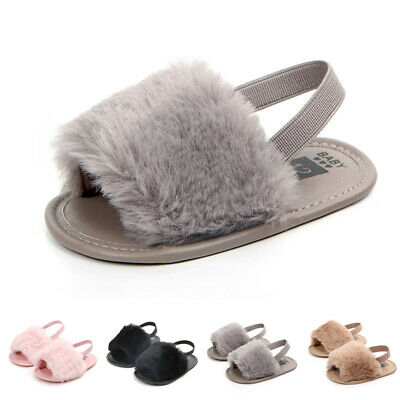 Toddler Newborn Fur Soft Sole Anti-slip Baby Sneakers Sandal Girl Crib Shoes