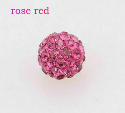 Wholesale 100 Pcs Cz Crystal Shamballa Beads Pave Disco Balls rose 10MM