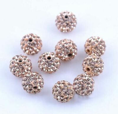 Wholesale 100 Pcs Cz Crystal Shamballa Beads Pave Disco Balls champagne 10MM
