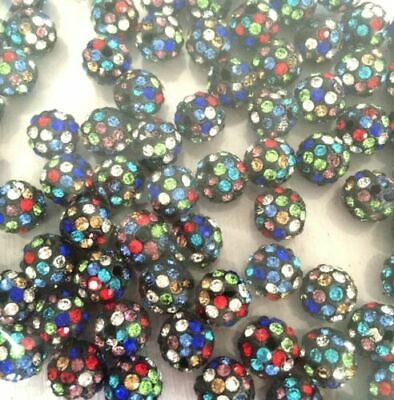 100 Pcs Cz Crystal Shamballa Beads Pave Disco Balls multicolor black 10MM