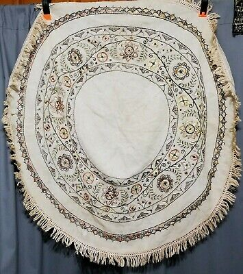 VTG Antique Silk Wool Hand Embroidered Arts&Crafts Mission LINEN TableTopper 39""