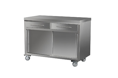 Stainless Steel Cabinet 1200L x 610W x 900H - Option of Castors or Feet