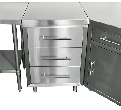 Stainless Steel Cabinet - 3 Drawers - 2000L x 610W x 900H