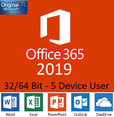 MS Office 365 Home Personal 2016 2019 Pro - 5 Users PC MAC Mobile Download