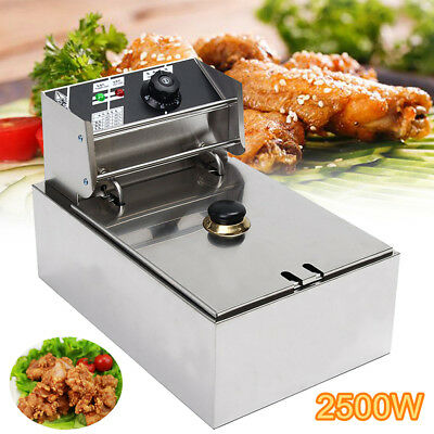 6L 2.5KW Commercial Electric Potato Chip Frying Machine w/Basket Kitchen Cooker