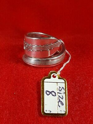 Spoon Ring Silver Plate Stunning Handmade Detailed Silverware Wide Flatware Hot