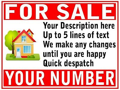 2 Colour House Flat Property FOR SALE or TO LET RENT sign boards Personalised