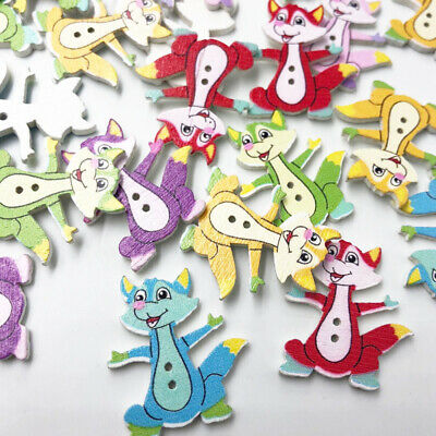 50PCs Wooden Sewing Buttons Fox 2 Holes 32X27mm Costura Botones Decorate WB577