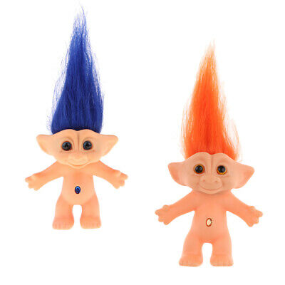 2pcs Retro Lucky Troll Doll Mini Figures Toy Cake Toppers Home Offcie Decor