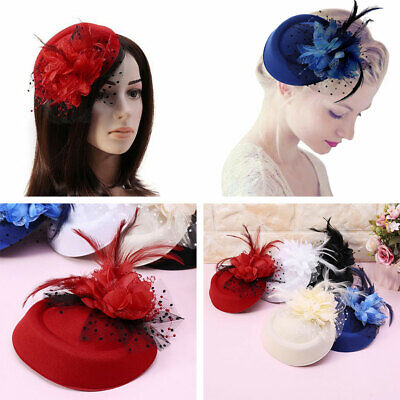 Womens Fascinator Hat Hair Clip Flower Feather Hair Pin Bride Wedding Party Cap