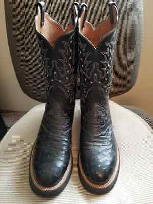 7f9b017add2 LUCCHESE 2000 BLACK Ostrich Leather Roper Cowboy Boots Size 9.5D ...