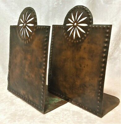 Vintage Hammered Copper Book Ends Mission Arts & Crafts Bookends