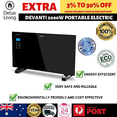Devanti 2000W Glass Portable Electric Panel Heater Convection Panel Heat BLACK