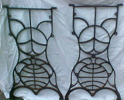 Pair of Antique Singer Sewing Machine Legs Cast Iron White New home