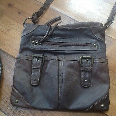 Faux Leather Dark Brown Crossover Body Bag