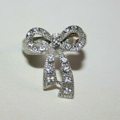 VINTAGE ART DECO to 1950s CHROME & PASTE 'TIED RIBBON BOW' PAVE CRYSTAL RING