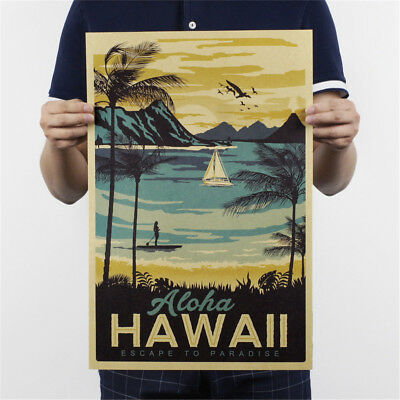 retro hawaii poster office kraft paper bar cafe home decor painting_wall sti Dn