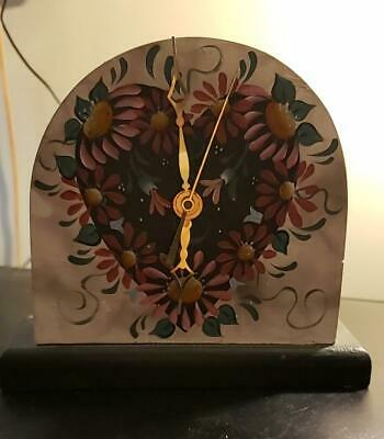 "Small Wooden Mantel Desk Top Heart Floral Clock 6 1/2"" tall"