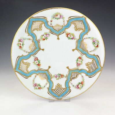 Antique Minton Porcelain Hand Painted Flowers Plate With Turquoise Banding