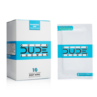 DUDE Shower Body Wipes 10 Count Wet Wipes Individually Wrapped for Travel Aloe