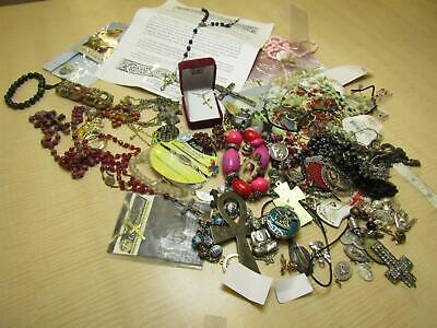 Lot of Religious Items Cross Pendants Rosary Beads Saint Medals Prayers AS IS