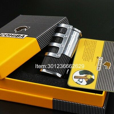 COHIBA Black Gridding Stripes 3 Torch Jet Flame Cigar Lighter With  Puncher