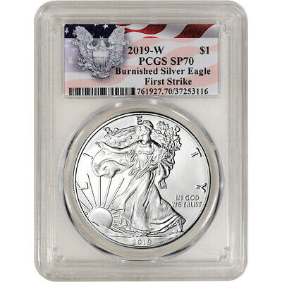 2019-W American Silver Eagle Burnished - PCGS SP70 First Strike Red Flag Label
