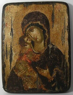 Handmade copy ancient icon ORTHODOX CHURCH Prayer ICON Mother of God Vladimir 9S