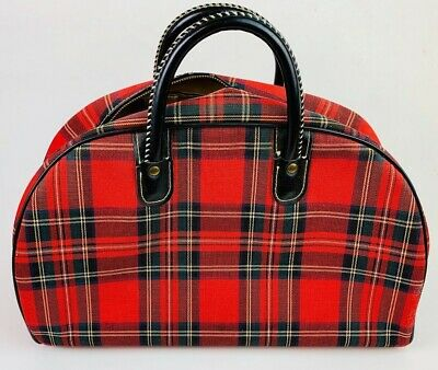 Vintage Gym Bag 1960s Red Plaid Serval Zipper 16 x 7 x 10 Sports New Old Stock