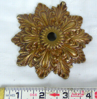 """Vintage Ornate Brass Ceiling Canopy Medallion for a Chandelier Salvage 4"""""""