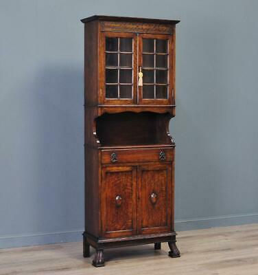 Attractive Slender Antique Carved Oak Glazed Door Bookcase Cabinet
