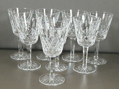 "Waterford Cut Crystal ""Lismore"" Set 8 Claret Wine Glasses Ireland Signed Xlnt!"