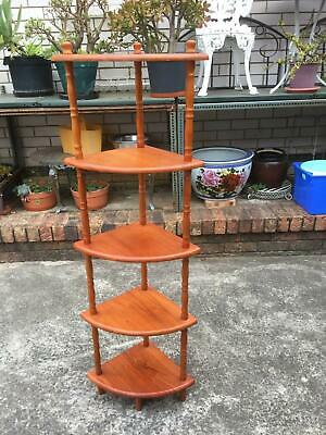 Vintage Retro Corner WHAT NOT STAND Solid Wood 5 Tier