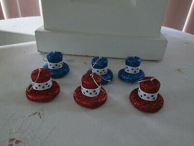 """6- 1.25""""  Patriotic Red & Blue Glitter Hat Ornaments w/White Bands -4th of July"""