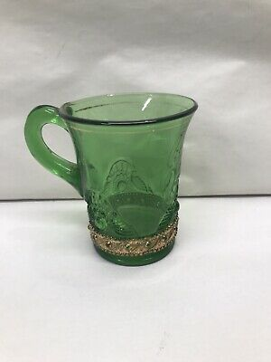 Green Antique Victorian Gold Embossed Tumbler Cup MUG Glass Floral c1900 EAPG