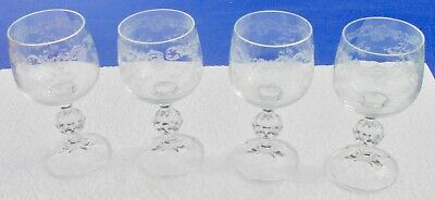 4 Antique Glasses Wine in Crystal Baccarat Engraved a la Wheel HT 13,5 CM