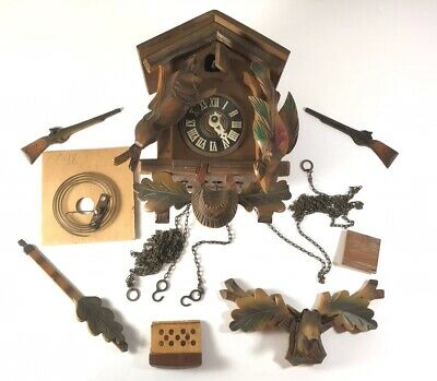Regula Brown Wood Hunting Theme Cuckoo Clock For Parts Repair