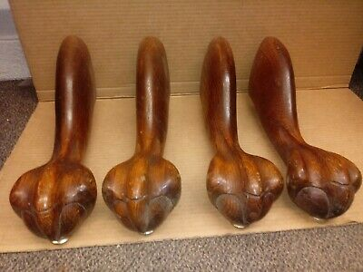 4pcs vintage  Furniture parts  Solid oak dining Table Claw Foot Legs