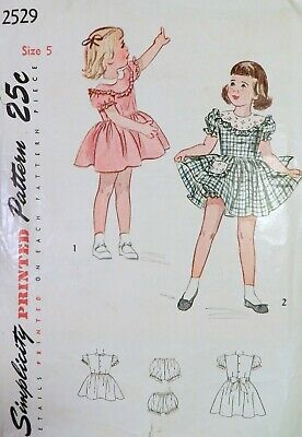 Vtg 1940s Simplicity 2529 Ruffled Full Skirt Dress Panties Sewing PATTERN Girl 5