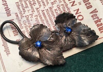 Antique Art Nouveau Beautiful Blue Czech crystal ivy Leaf Brooch