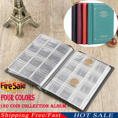 CA 120 Coin Collection Holders Storage Money Penny Pocket Album Book Folder Case