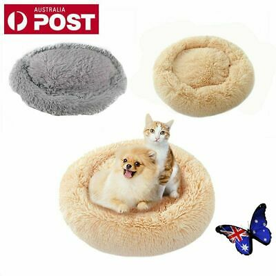 Pet Calming Bed Round Nest Warm Soft Plush Comfortable Winter Sleeping Bed AU
