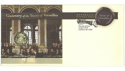 Australia 2019 Centenary of the Treaty Versailles Stamp & $1 UNC Coin PNC Cover